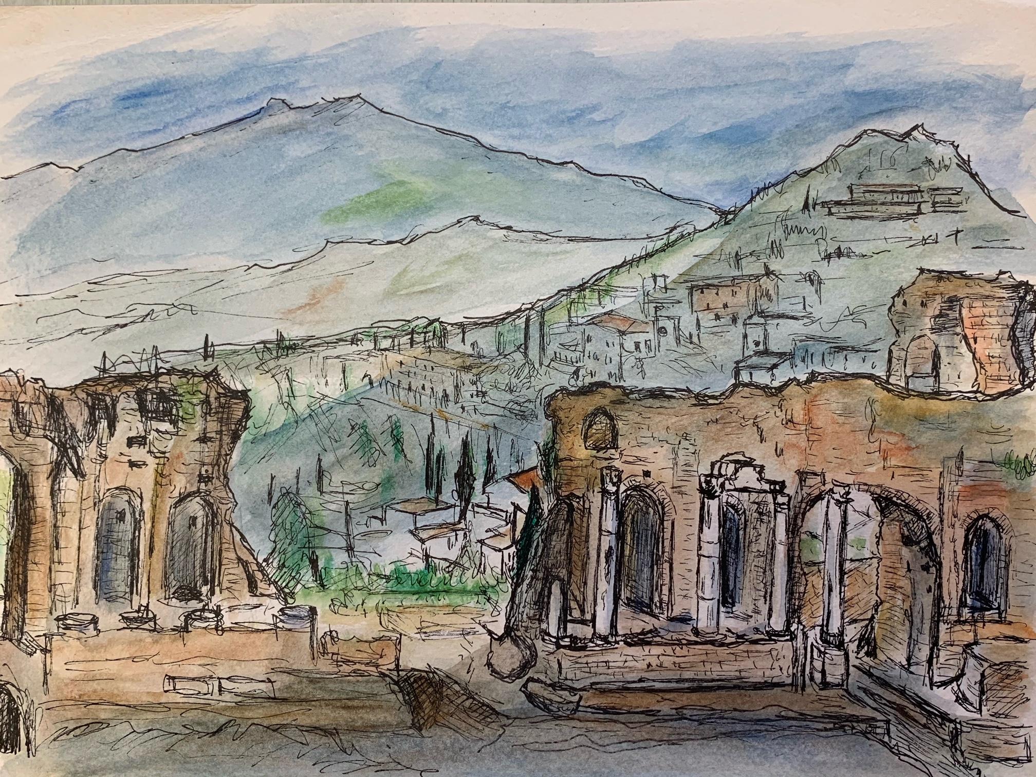 エトナ山を望むギリシャ劇場<br>(タオルミーナ) 江里口 智 4号 水彩