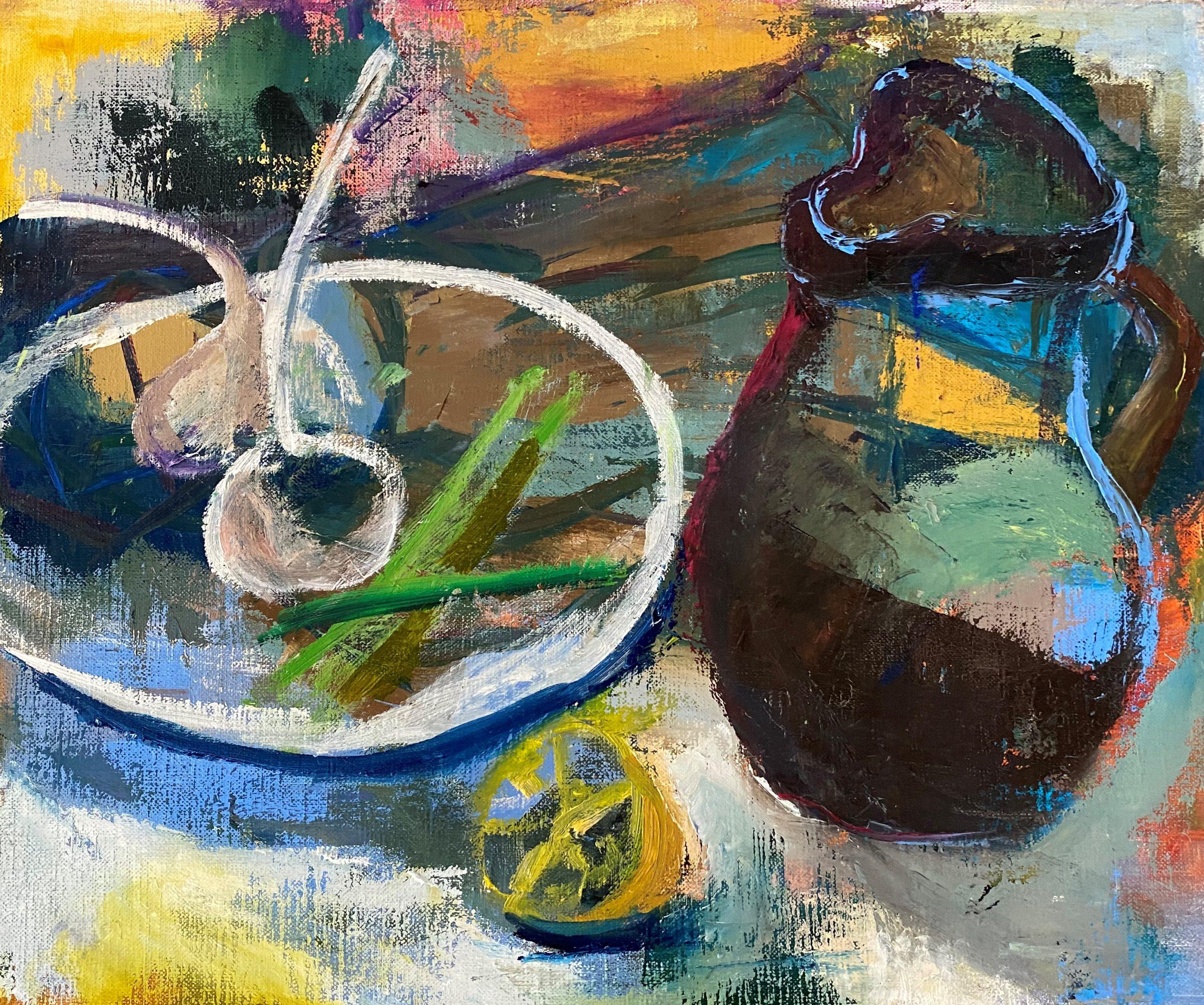 茎付きのにんにくのある<br>テーブル 清水 宏子 P8油彩